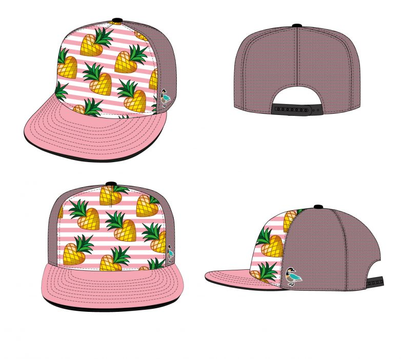 pp_5-panel_baseball_cap_pineapple_hearts_pattern