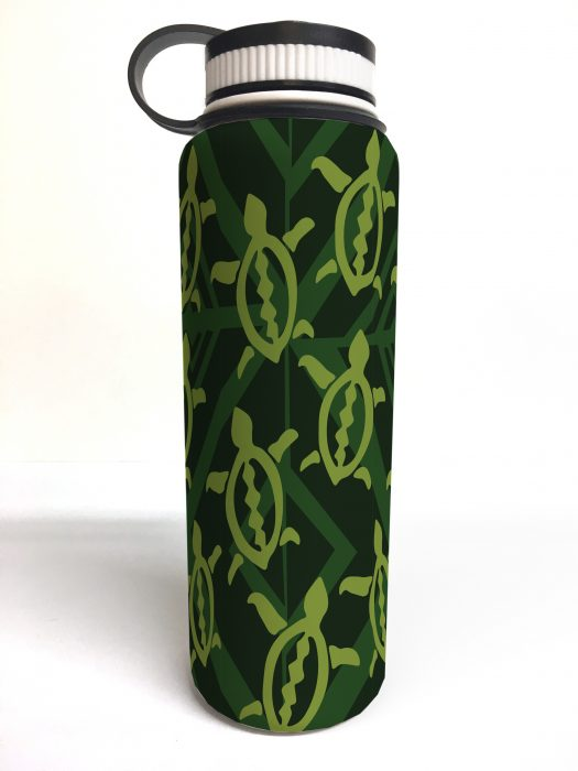 white printed flask honu