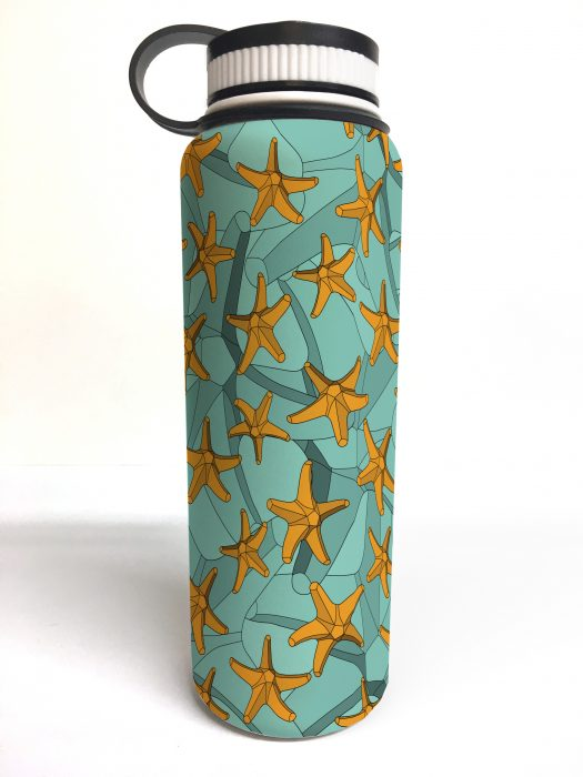 white printed flask starfish